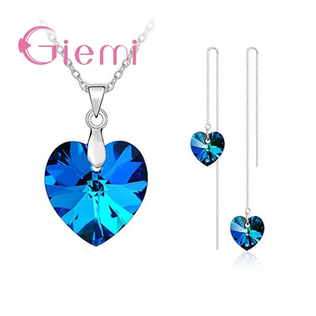 Authentic 925 Sterling Silver Jewelry Sets for Women Girls Gifts Austrian Crystal  Heart Pendant Necklace Thread Earrings Chain