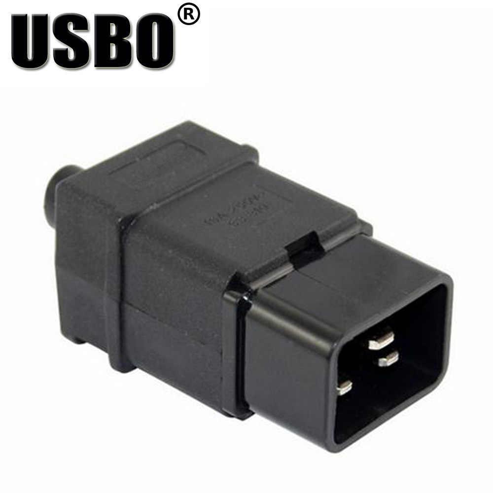 Tedarik Siyah IEC320-C19/C20 takılı fiş PDU şasi adanmış erkek dişi kablo fişi 16A ücretsiz kaynak priz dönüştürücü