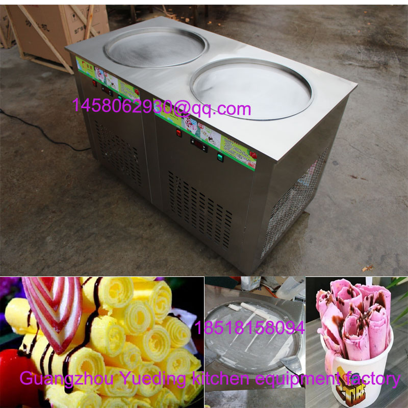 China manufacturer fried rolled ice cream machine double pan roll fried ice cream machine 110v 220v thailand fried ice cream machine snack machine ice cream cold plate one pan fried ice cream roll machine