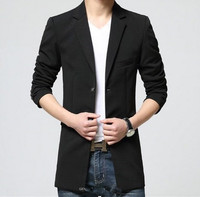 Medium Long Suit Jacket For Men Black Royal Blue Mens Casual Slim Fit Blazer Jacket Coat