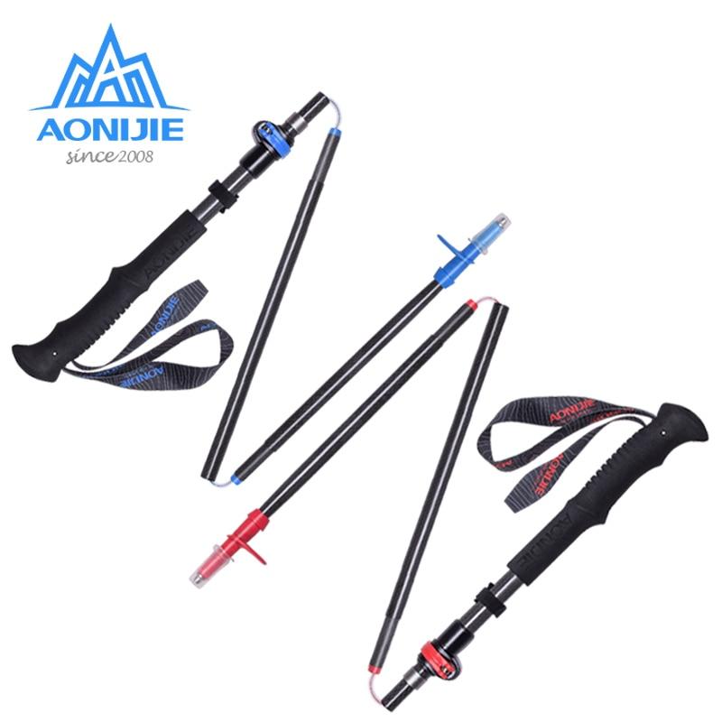 AONIJIE E4087 Adjustable Folding Ultralight Carbon Fiber Quick Lock Trekking Poles Hiking Pole Walking Running Stick(China)