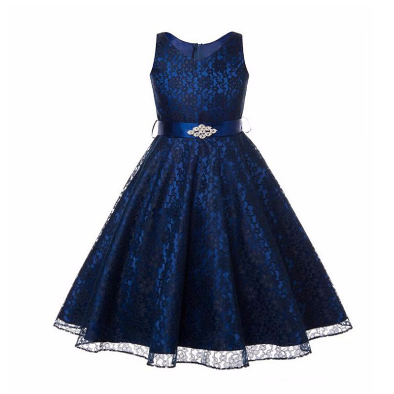 Wedding Bridesmaid Ball Gown Girls Clothes Dresses Girl Dress Kids Clothing Birthday Party Formal Bow Lace 2-14 Years 2016
