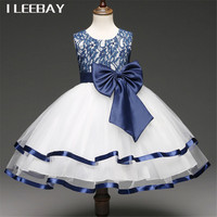 Summer Kids Flower Girl Dresses For Weddings Baby Girls Formal Evening Party Dress Infant Bow Clothes