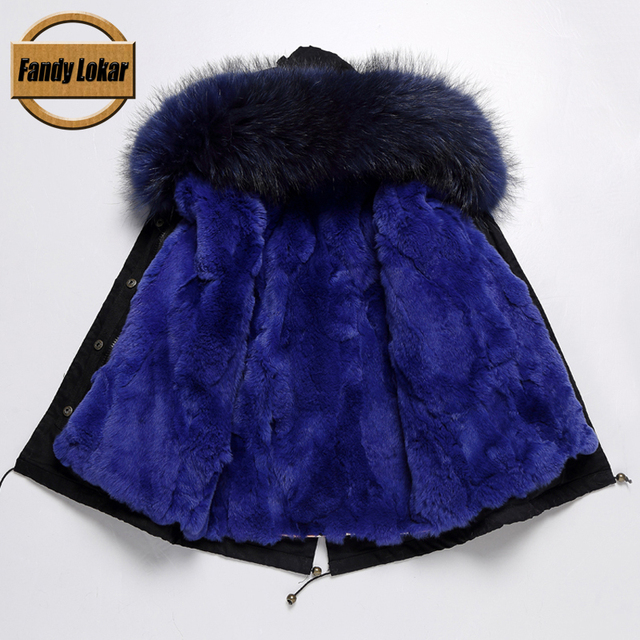 Cheap FL Brand 100% Rex Rabbit Hair Cold Freeze Winter Fur Coat Raccoon Fur Boys,Girls Outwear Army Green Kids Parkas Detachable Liner
