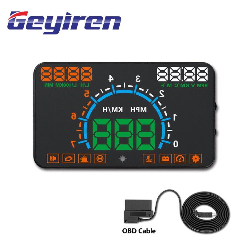 GEYIREN HUD E350 5.5' HUD Car Display Auto OBD2 Speed Alarm LED Windscreen Projector Data Diagnostic Tool Car Electronics 2019