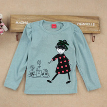 купить Fashion Baby Kid Long Sleeve Girls T-shirt Cartoon Print Shirt Tops Clothes Girls Blouse T-Shirt по цене 250.13 рублей