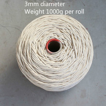 Cord 1000g 3mm 100%Cotton rope thickness hand-woven tapestry rope bag strap tag tied decoration diy rope Natural White цена