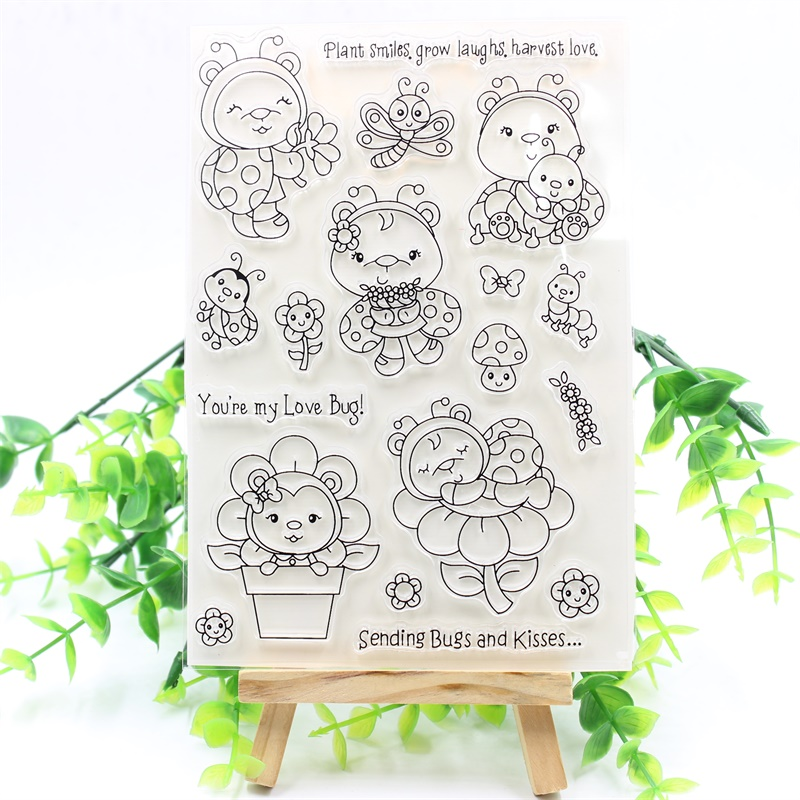YPP CRAFT Lovely Ladybug Transparent Clear Silicone Stamps for DIY Scrapbooking/Card Making/Kids Fun Decoration Supplies