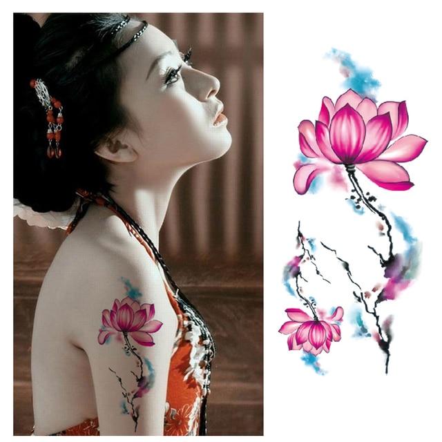 Beautiful Chinese Peony Lotus Flower Tattoo Stickers Sexy Body Art