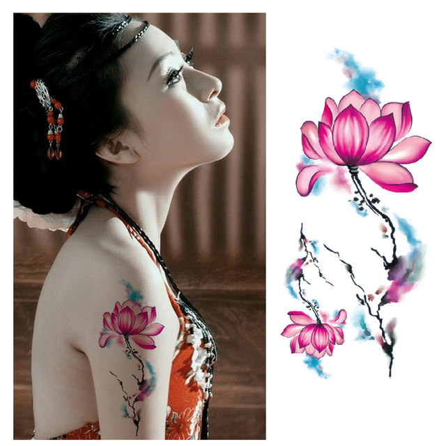 Online shop beautiful chinese peony lotus flower tattoo stickers image mightylinksfo