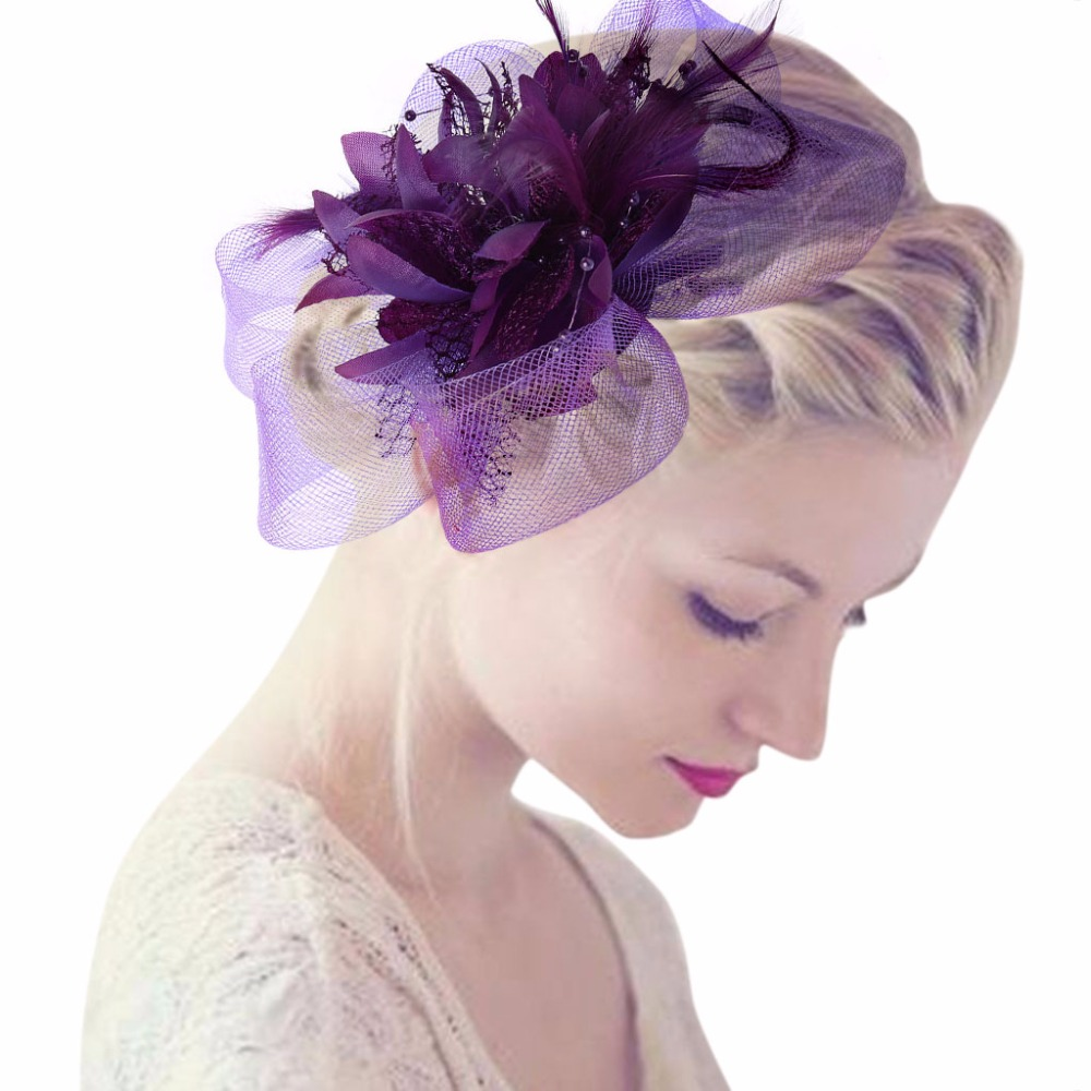 Women fascinator Lace Feather-Bead Flower Hair Clip Corsage Brooch-wedding party
