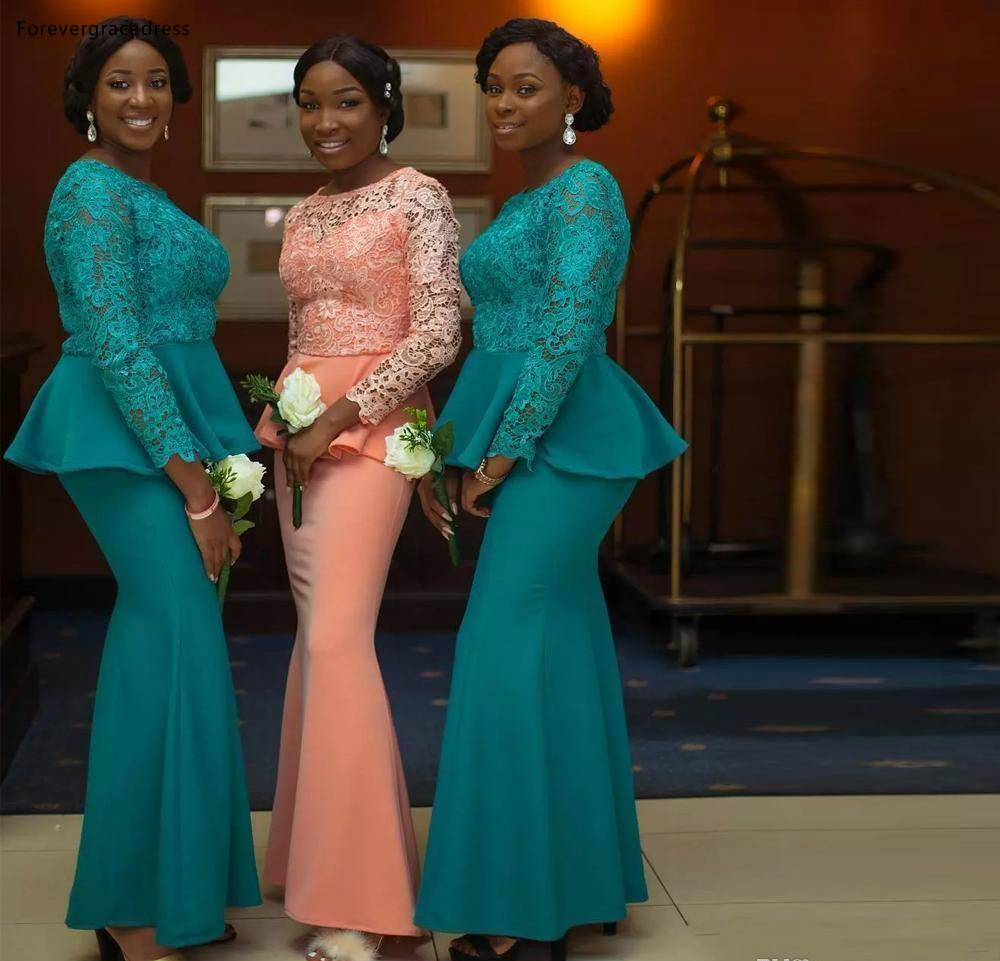 ASO EBI Vintage Bridesmaids Dresses Coral Dark Green Mermaid Lace Long Sleeve With Peplum Long Maid of Honor Wedding Guest Dress Plus Size  105 (2)