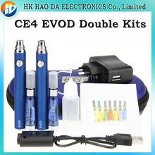 อาตมาCE4 EVODบุหรี่อิเล็กทรอนิกส์ชุดคู่2 * CE4 A Tomizers 2 * EVODแบตเตอรี่ชาร์จสำหรับบุหรี่อิเล็กทรอนิกส์e-cigชุดใหญ่