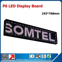 China factory programmable led display panel p6 smd rgb color high brightness indoor text advertising led signboard 192*768mm