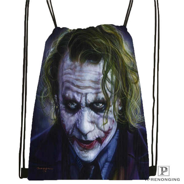 Custom Joker Batman Arkham Drawstring Backpack Bag Cute Daypack Kids Satchel (Black Back) 31x40cm#2018612-01-(13)