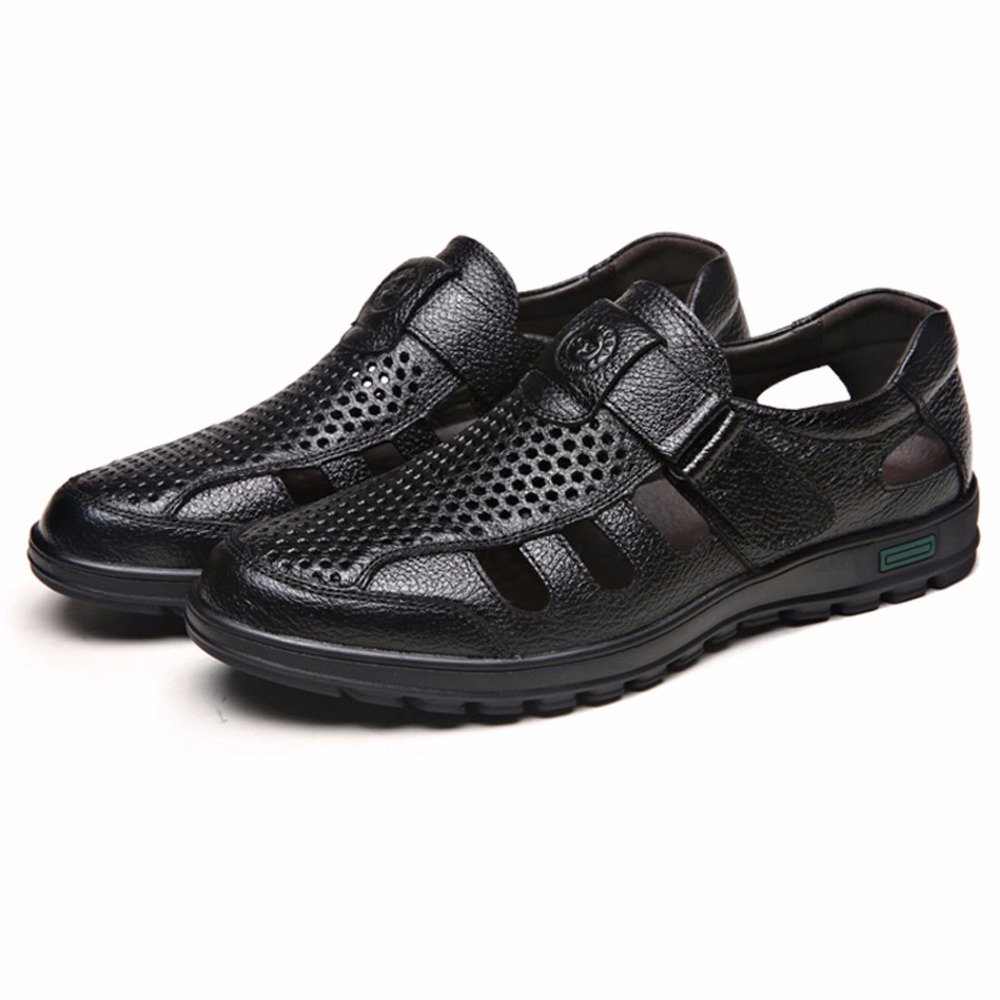 2017 New Men Father Sandals Cow Leather Black Brown Male Summer Shoes Breathable Hard Wearing Hollow