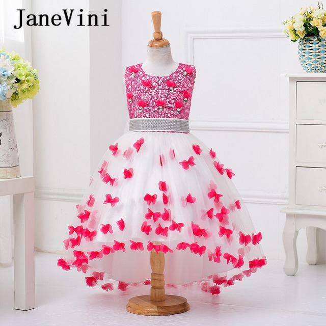 bd8850bfd95 JaneVini Chic Girl Dress 3D Flowers Sequins Tulle Flower Girl Dresses for Weddings  Girls Pageant Gowns First Communication Dress