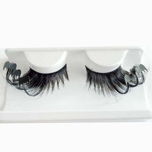 Women 's Halloween Party Party Makeup Art Black Bats False Eyelashes Extension Fiber Hair Make Up Beauty Fake Eye Lashes #Y