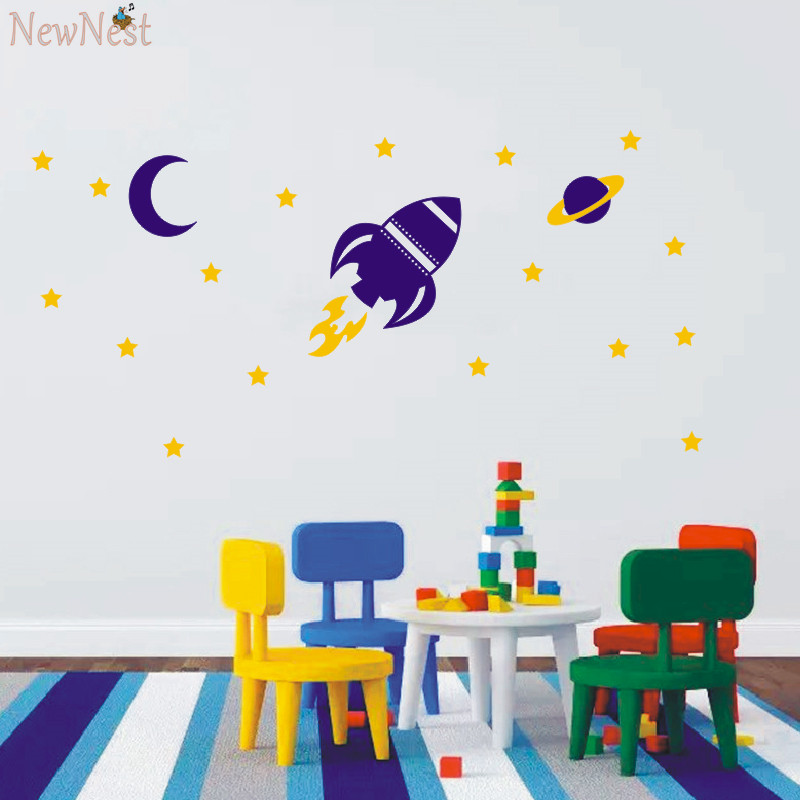 ... Rocket Wall Decal Baby Boy Nursery Wall Sticker Space Ship And Stars Wall  Decals, Boy ... Part 46