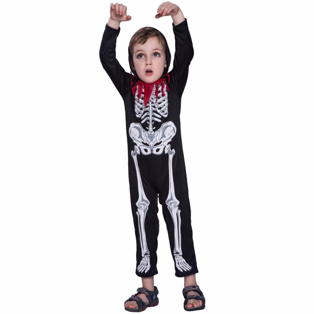 2017 new arrival black skull cosplay costumes boys halloween costumes for kids skeleton costume kids scary - Scary Halloween Costumes For Children
