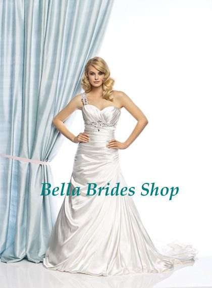 2011 Latest Design Best Price One Shoulder Beaded Latex Wedding ...
