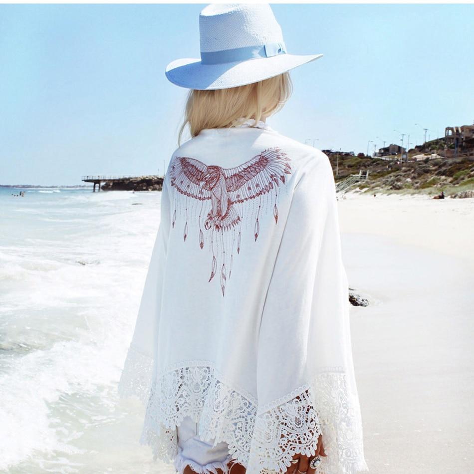 vestidos verano 2017 pareos Cover Up Vestido de Verano Ropa de Playa Bikini Caftán Suéter Camiseta de la Rebeca de Impresión Águila Chaqueta de Manga Larga pareos de playa mujer