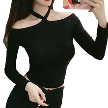 Tee Shirt 2018 Autumn Fashion New Off Shoulder Hanging Neck Woman Tshirt Short Sexy Slim Womens Long Sleeve Tops Camiseta Mujer