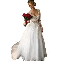 Backlackgirl Новые поступления Элегантный 2 в 1 белый красивый высокое качество одежда с длинным рукавом Свадебные платья Vestido De Noiva как фотографии