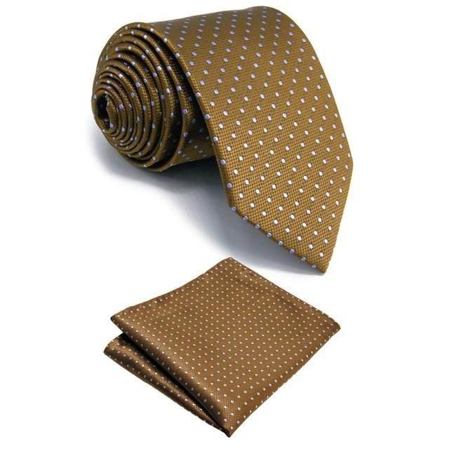 shlax&wing Marrón Azul Puntos Tie Set Corbatas Para Hombres Seda Traje de negocios Extra Largo Corbata Flaca BhYJLa0Ne