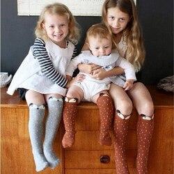 Crianças meias de algodão meias do bebê recém-nascido dos meninos meninas anti pular andar longo raposa animal dos desenhos animados meias para o bebê