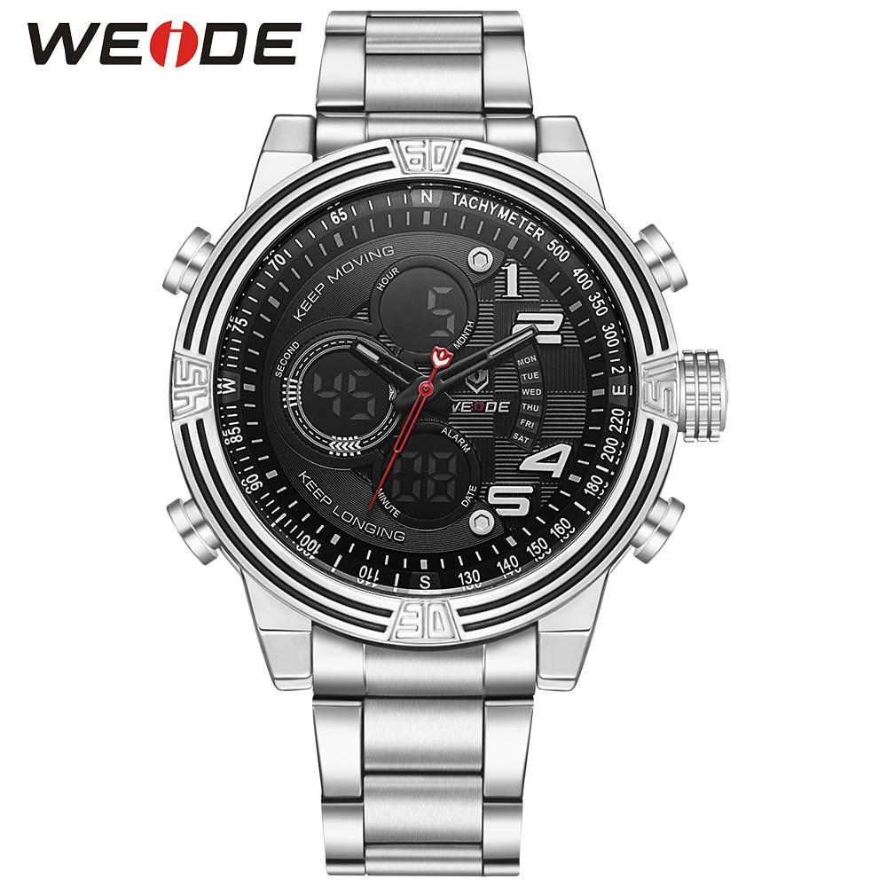 ФОТО WEIDE Running Sport Watch  Outdoor Waterproof Fashion Casual Men's Watch Digital Analog Alarm Black Stainless Steel Strap 2017