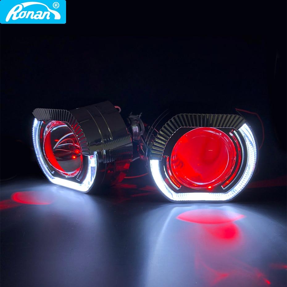 RONAN 2.5 ''VER 8.1 โปรเจคเตอร์ Bi Xenon H1 เลนส์สำหรับ BMW X5 สแควร์กีฬา LED Angel Eyes DRL สีขาว H4 H7 รถจัดแต่งทรงผม