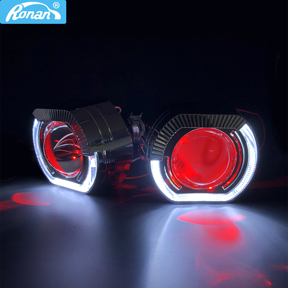 RONAN 2.5''VER 8.1 Projector Bi Xenon H1 Lens Car Headlight For X5 Square Sport LED Angel Eyes Drl White H4 H7 Car Styling