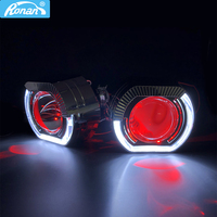 RONAN 2.5''VER 8.1 Projector Bi xenon H1 Lens car Headlight for BWM X5 Square sport LED Angel Eyes drl white H4 H7 car styling