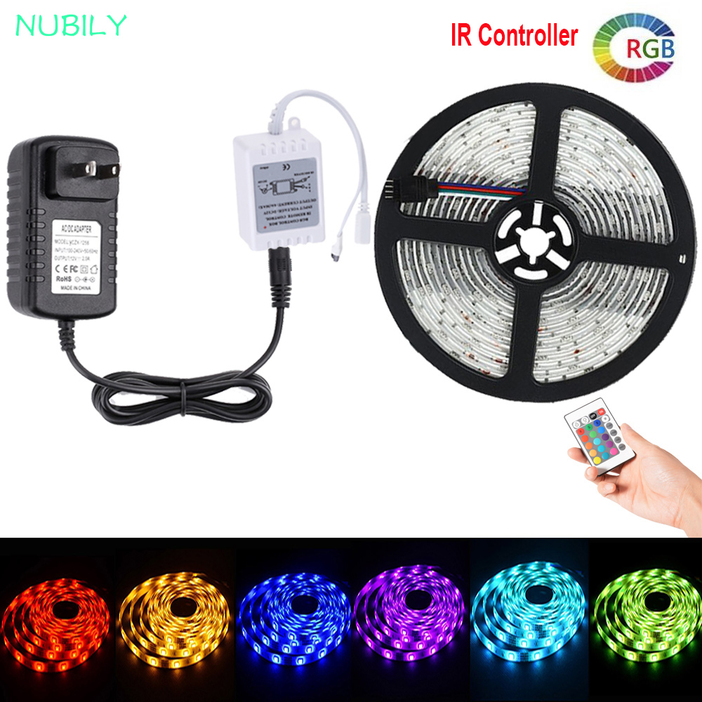 5050 RGB LED Strip 12V Fita De LED Light Strip Bande Waterproof 10M 5M 2M 3M 1M 24Key Remote IR RGB Controller LED Adapter Power