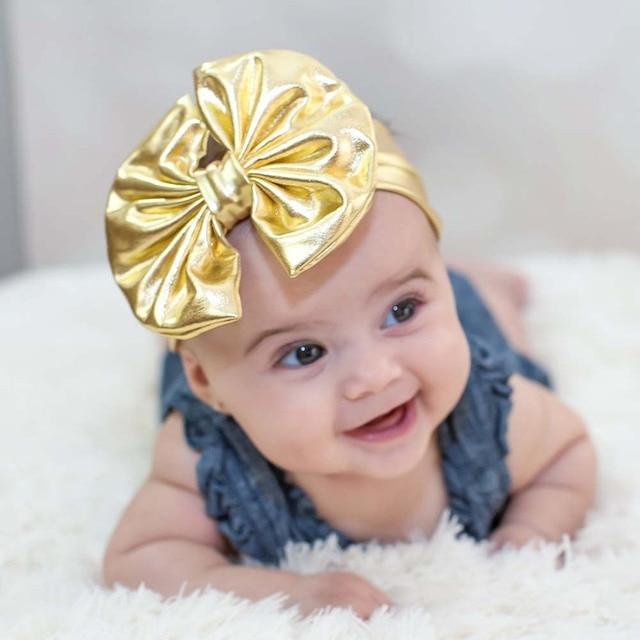 Gold Metallic Messy Bow Baby Head Wraps Big Bow Girls Headband Shiny Turban  Headwrap Newborn Photography Prop HB266 072e4a4274e