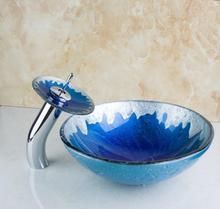 4210-1 Niebieski Malowanie Kolor Okrągły Łazienka Sztuki Umywalka Jasne Szkło Hartowane Statku Umywalka Z Chrome Wodospad Kran Ustaw