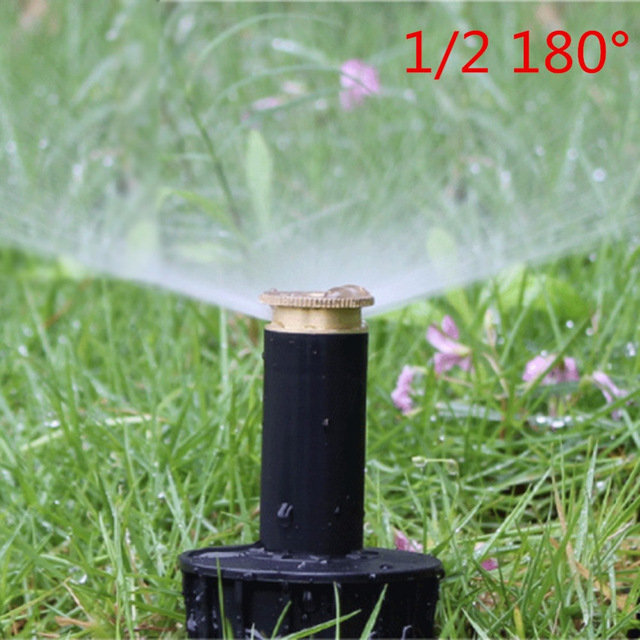 "Image 3 - 1PC 90 360 Degree Pop up Sprinklers Plastic Lawn Watering Sprinkler Head Adjustable Garden Spray Nozzle 1/2"" Female Thread-in Garden Sprinklers from Home & Garden"