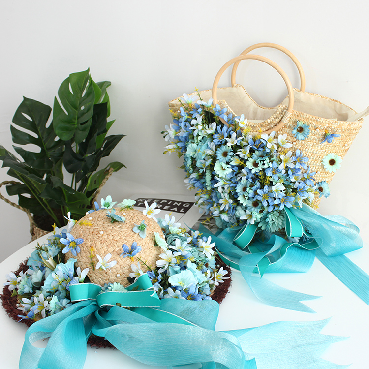 Originele handgemaakte bloem bag lady tassen zomer strand hoed handtas rotan strozak mooie groene sky blue zijden lint-in Top-Handle tassen van Bagage & Tassen op  Groep 3