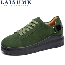 LAISUMK 2019 Autumn Women Flats Leather Suede Lace up Platform Sneakers Thick Heel Casual Boat Shoes Ladies Oxfords