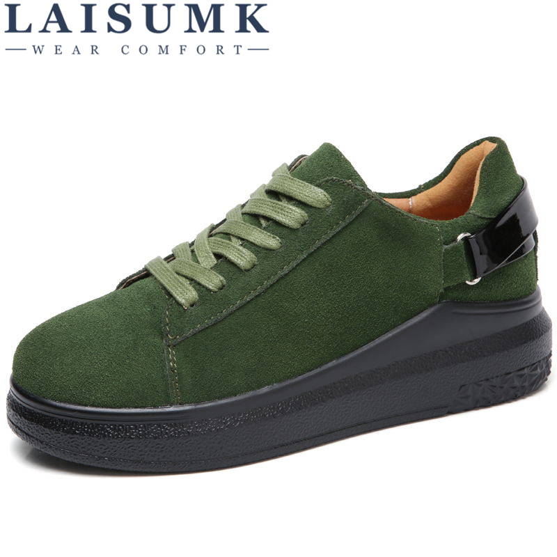 LAISUMK 2019 Autumn Women Flats Women   Leather     Suede   Lace up Platform Sneakers Thick Heel Casual Boat Shoes Ladies Oxfords Shoes