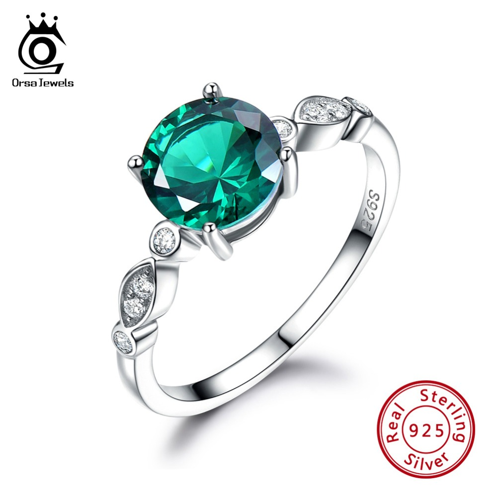 ORSA JEWELS Solid 925 Sterling Silver Women Rings Created Emerald Round Shape Female Luxury Ring Female Fine Jewelry Gift VSR02ORSA JEWELS Solid 925 Sterling Silver Women Rings Created Emerald Round Shape Female Luxury Ring Female Fine Jewelry Gift VSR02
