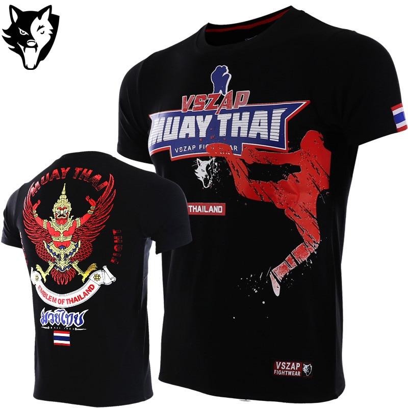 Boxing Jerseys Vszap Brazil Boxing Jerseys Fight Mma T-shirt Gym Shorts Boxing Fitness Sport Muay Thai Cotton Breathable T Shirt Men Kickboxing