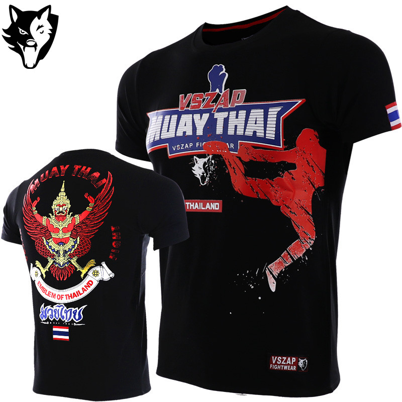 VSZAP Boxing Jerseys Fight MMA Shorts T-Shirt Gym Tee Shirt Boxing Fitness Sport Muay Thai Cotton Breathable Fighting Shirt Men
