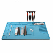 39x27cm Heat Resistant Silicone Pad Desk Mat Maintenance Platform Heat Insulation BGA Soldering Repair Station with 20cm Ruler