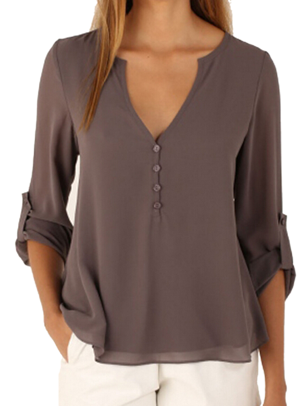 Sheer v neck top button high low shirt blouse loose sheer for V neck button up shirt