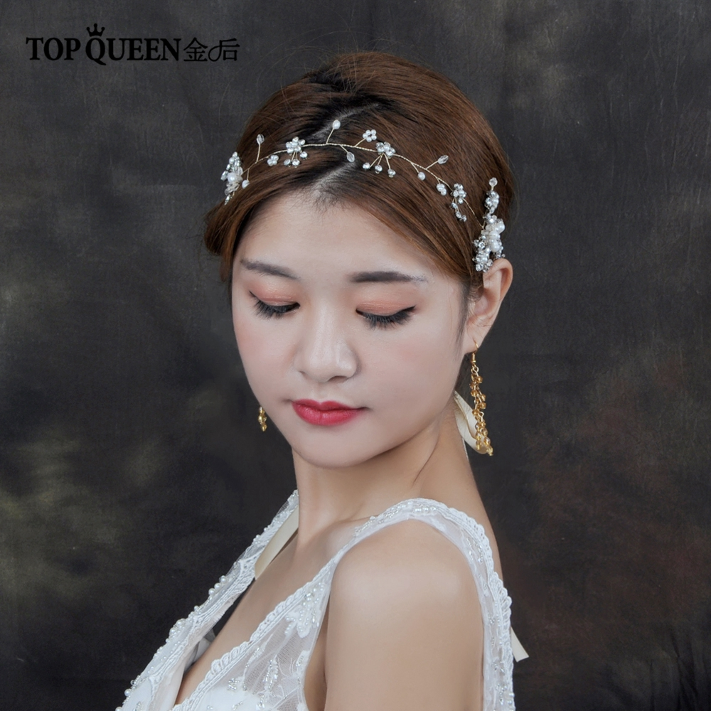 TOPQUEEN Wedding Hair Accessories Wedding Bridal Headband Pearl Bridal Hair Vine Women Head Ornament Ladies Hairs Jewelry HP19