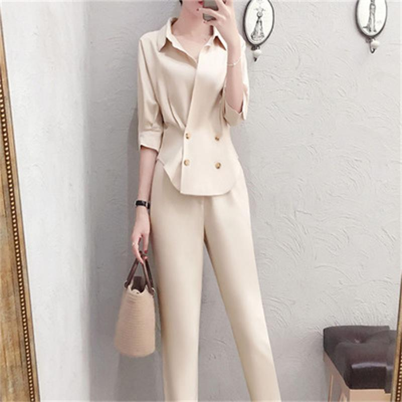 Fashion professional suit female summer New high quality casual temperament V-neck shirt + pants OL two-piece suit women 1