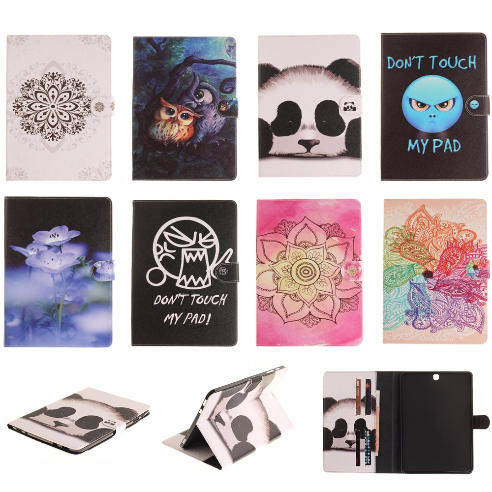 For Samsung Galaxy Tab S2 9.7 T815 T815C Case Fashion Flower Panda Owl PU Leather TPU Flip Wallet Tablet Back Cover Capa DP00E