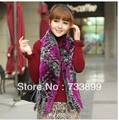 F565- Warm autumn winter plaid white gray women's wraps,hand knitted thicken natural rex rabbit fur scarf